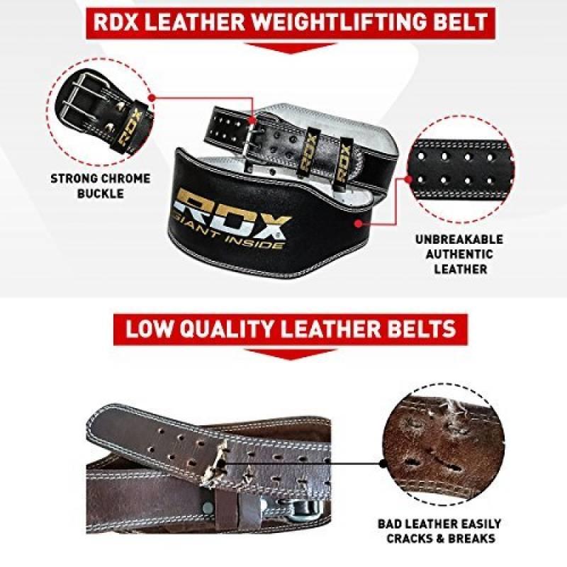 """RDX Ceinture de Musculation 6/"""" Cuir Vachette Fitness Halterophilie Entrainement"""