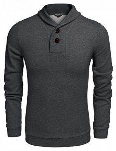 Coofandy Sweatshirts Retro Homme Col Châle avec 2 Boutons Solide Pullover Casual de la marque Coofandy image 0 produit