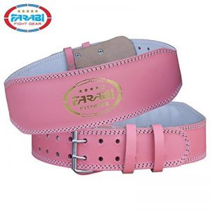 Farabi Pink Genuine Leather Weight Lifting belt for extreme powerlifting weightlifting workout gym training deadlift back Lumbar support cardio belt and back injury protector de la marque Farabi image 0 produit