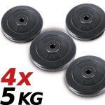 Physionics® HSTA24 Lot de 4poids de 5kg chacun avec revêtement en plastique pour barre de musculation Ø26mm de la marque Physionics® image 3 produit