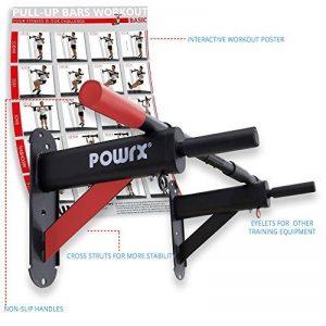 POWRX- Barre de traction Deluxe 2016 pour montage mural | avec matériel de montage et instructions | Capacité de charge maximale jusqu'à 136 kg de la marque POWRX image 0 produit