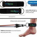 Set de bandes de résistance élastiques + guide d'exercices – 5 tubes en latex professionnels | Poignées, ancre de porte & sangles pied | Entraînement muscles bras, dos, jambes | Sport, fitness de la marque BeMaxx Fitness image 3 produit