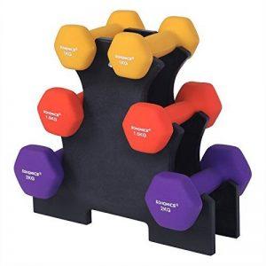 SONGMICS Haltère 1 paire 2x0,5 kg 2x1 kg 2x1,5 kg 2x2 kg 2x3 kg 2x4 kg 2x5 kg Plusieurs couleurs et poids au choix Salle de sport Musculation Entraînement Revêtement en vinyle antiglisse de la marque SONGMICS image 0 produit