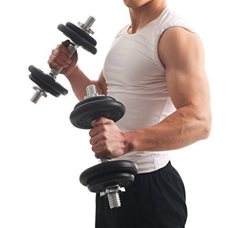 avec disques Musculation Set de 2 Haltères Courts Poids 30 kg 2 x 15 kg