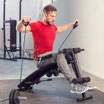 TecTake Banc de musculation -Dimensions totales : environ 120 cm (L) x 55 cm (L) x 73 cm (H)- pour muscles abdominaux appareil de fitness sport + 2 haltères + 2 cordes de formation pliable de la marque TecTake image 1 produit